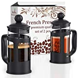 French Press Coffee Maker - Set of 2 pcs in Gift Box - 12oz(350ml) French Press Coffee & Tea Maker - 2 Cup Capacity - by Meshberry