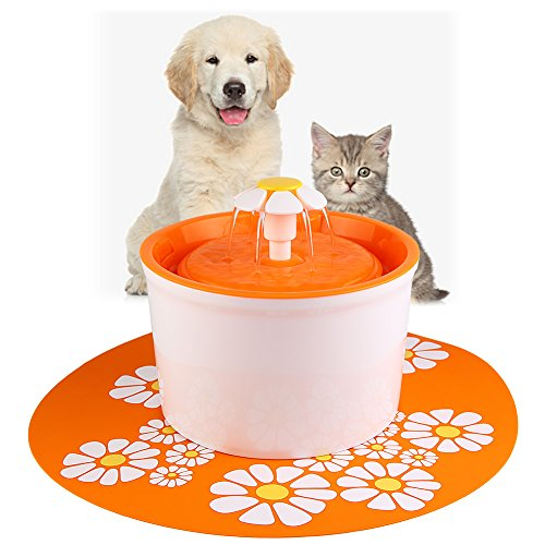 ELEOPTION Pet Water Fountain Auto Flow Surper Quiet for Cat Dog Water Dispenser Recycle Drinking Small Fountain 1.6L Pefect for Small Pets Electric Drinking Bowl (Fountain Orange)