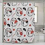 Felsiago – Cortina de ducha con ganchos Lucky Maneki Neko con pez de gato y palillos, cortina de baño decoración 60 x 72 pulgadas