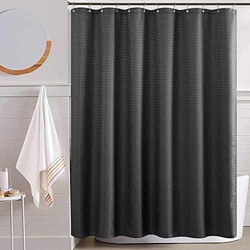 Waffel-Duschvorhang Schwarz Wasserdicht Textil für Badezimmer Antischimmel Dushvorhänge Allmähliches Farbdesign Stoffvorhanghaken mit 12 Hacken 1PC 175x180cm