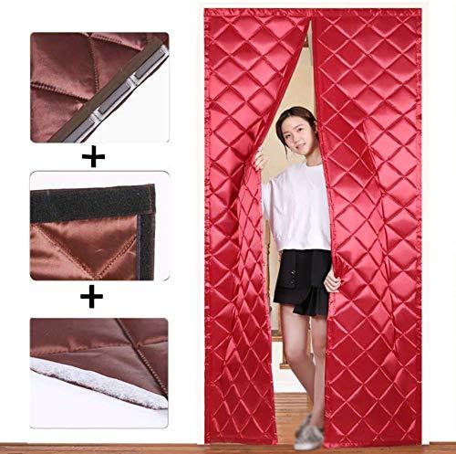 SLM-max Haushalt Winter Baumwolle Tür-Vorhang, Schlafzimmer Wohnzimmer Starke warme Windschutzscheibe Kälte Partition Vorhang-PU-Material,Rot,150×210cm