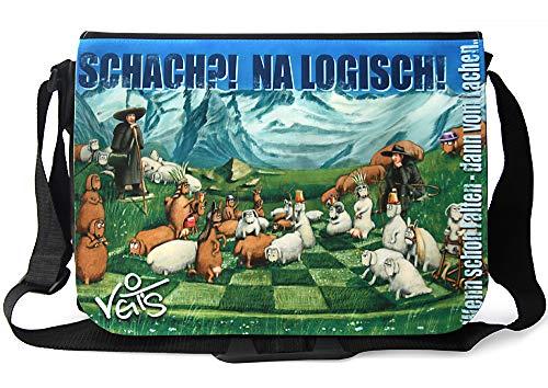 Veit'S lustige Schultertasche Schultasche College Tasche mit Motiv Schach? NA Logisch - TAB0208