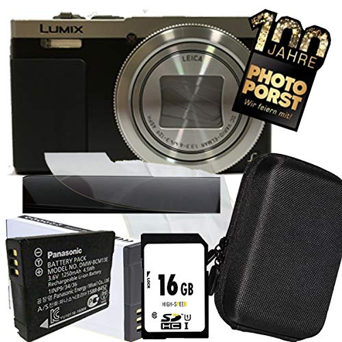 1A PHOTO PORST Jubiläums Angebot Panasonic Lumix TZ71 EG-S silber Digitalkamera+SD 16 GB Speicherkarte+Tasche+Display-Schutzfolie+Ersatzakku+Mikrofasertuch
