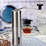 FWQPRA Manual Coffee Grinder with Adjustable Setting - Conical Burr Mill & Brushed Stainless Steel Whole Bean Burr Coffee Grinder for Aeropress, Drip Coffee, Espresso, French Press, Turkish Brew