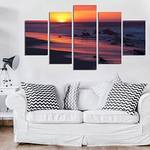 Ruifulex Ölgemälde auf Leinwand, 5 stücke Kunst Wandmalereien Hintergrund Wohnzimmer Schlafzimmer Wanddekor, Sonnenuntergang Durch Das Meer 30 * 40 cm * 230 * 60 cm * 230 * 80 cm * 1 rahmenlose