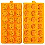 Crethink - Stampo in silicone per cioccolatini a forma di zucca, per Halloween, cioccolato, muffin, wafer, torta, budino, caramelle, gelatina, cubetti di ghiaccio, mini sapone e altro ancora