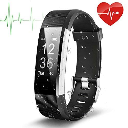 Fitness arm band, Elete CPRO Fitness Tracker con cardiofrequenzimetro impermeabile IP670.96OLED schermo monitor della frequenza cardiaca bluetooth Contapassi Smart Watch con chiamata/SMS adatto per Android IOS Supporto