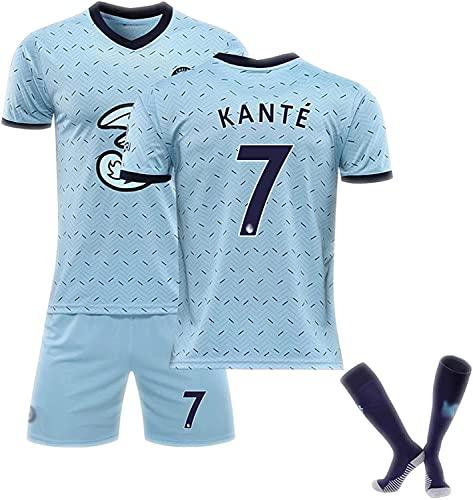 SXMY Set Divise da Calcio Adulti e Bambini, Chelsea n. 7 Maglia da Calcio Kanté, Maglia da fanatico del Calcio, Adatta per la Competizione(Size:26,Color:Azzurro)