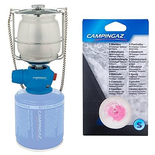 CAMPINGAZ Lumostar Plus Pz Lámpara con Gas, para Cartucho CV 470/Cv 300, Unisex, Azul + Small Recambio Luz Acampada, Unisex, Beige