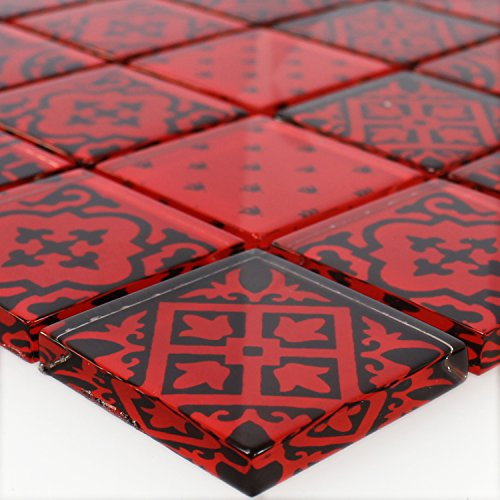 Glas Mosaik Fliesen Barock Ornament Rot