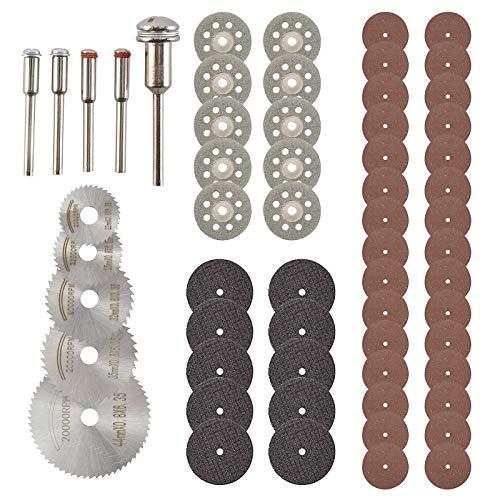 Tysun 60 Pcs Cutting Wheel Set for Rotary Tool, 5 Pcs Saw Blades, 40 Pcs Resin Cutting Discs, 10 Pcs 1/8