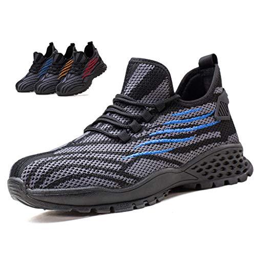 Zapatos de seguridad Zapato de trabajo de punta de acero para hombres mujeres entrenadores zapatos - volar tejido altibado calzado - caminata de trabajo cocina industrial y construcción calzado de tob
