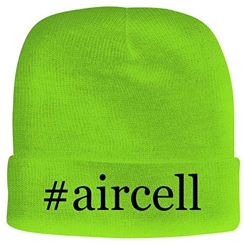 BH Cool Designs #aircell - Men's Hashtag Soft & Comfortable Beanie Hat Cap, Neon Green, One Size