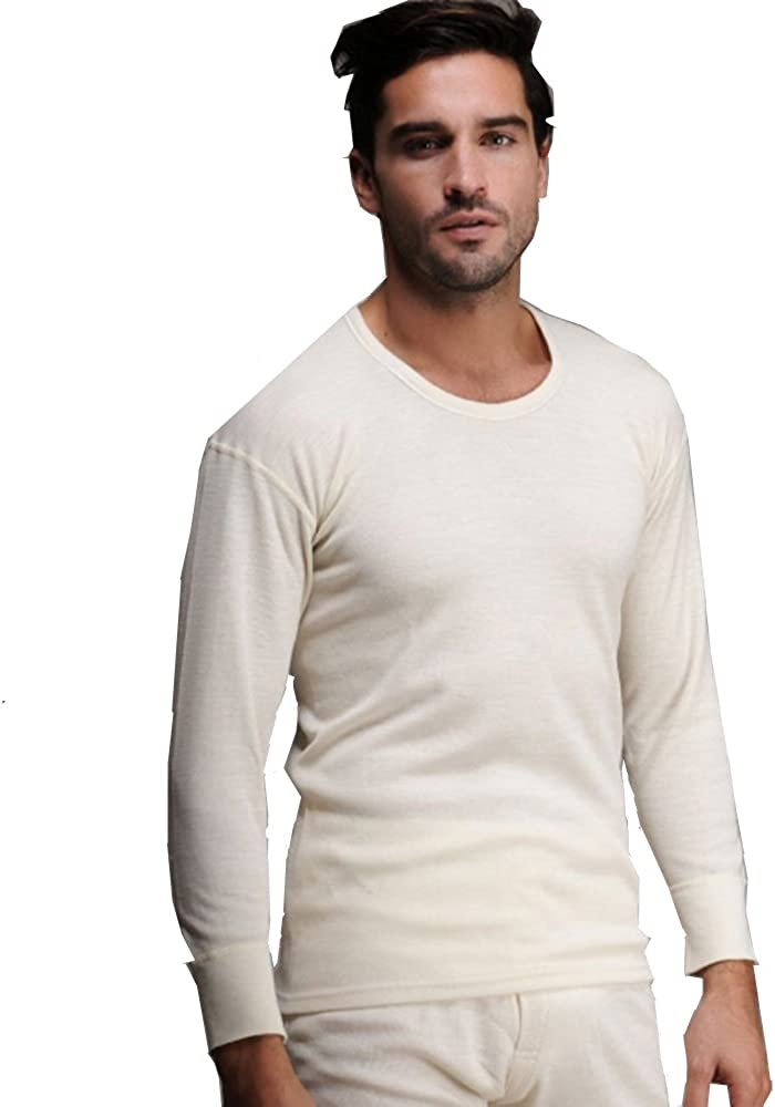 Men's Thermal Cream 100% Cotton (240 GSM) Soft Long Sleeve Fitted T-Shirt Top
