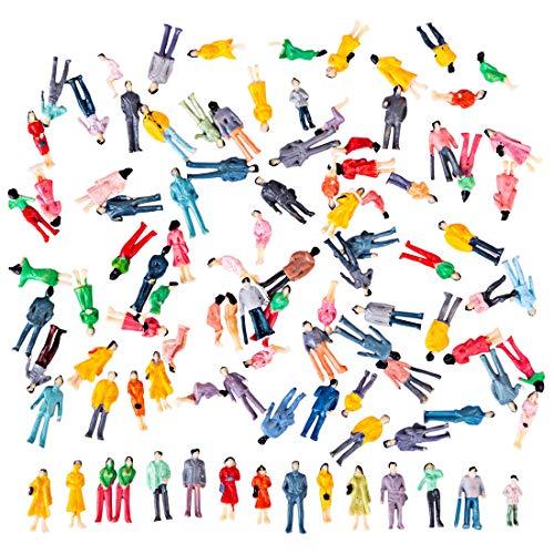 Polai 100 Pezzi Figure Scala 1:100 Personaggi Plastico Ferroviario in Miniatura