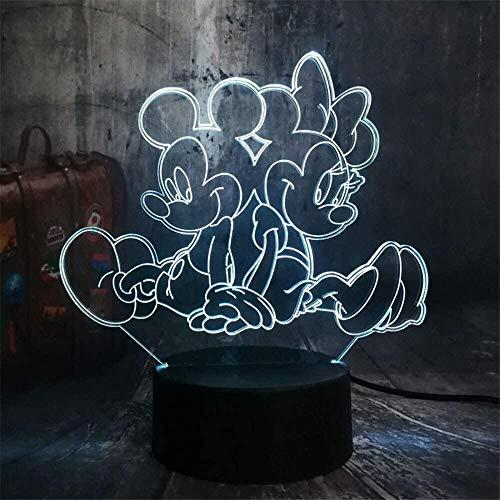 Lindo Mickey y Minnie Mouse dibujos animados 3D LED noche luz novedad mesa escritorio lámpara cumpleaños niño niños decoración del hogar
