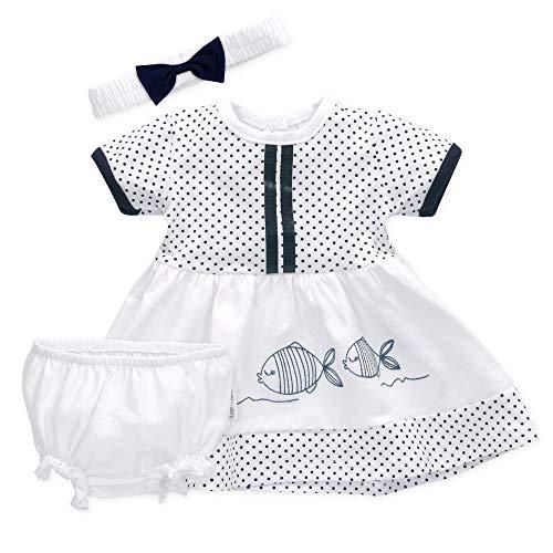 Baby Sweets 3er Babyset Kleid, Pumphose & Baby-Haarband/Newborn Babykleidung Mädchen Weiß-Blau/Babykleid Baby-Outfit mit Fischen & Punkten/Taufkleid Neugeborene & Kleinkinder / 0-3 Monate (62)