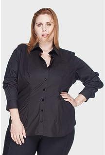 Camisa Acinturada Algodão com Elastano Plus Size