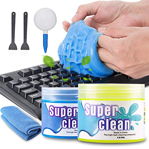 2 Stück Tastatur Reinigung Keyboard Cleaner Universal Cleaning Gel Super Clean Quickly Remove Stains for PC Tablet Laptop Keyboards Car Vents Cameras Printers Calculators