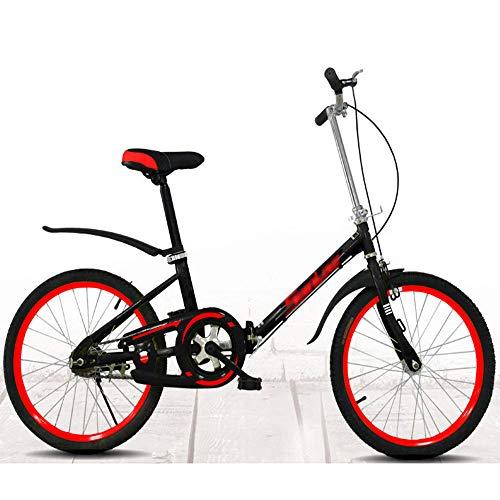 QYCloud Bicicletas de Carretera para Adultos, Hombres y Mujeres, Bicicletas Plegables portátiles para Peso Ligero, Mini Bicicleta para Adultos con Freno en V,Negro
