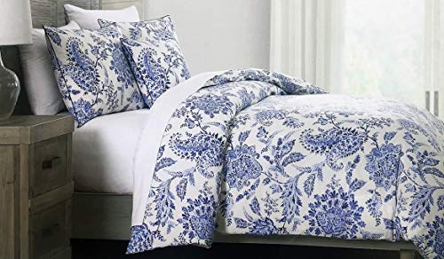 Tahari Home Maison 3 Piece Duvet Cover Set Floral Pattern in Shades of Blue on White (King)