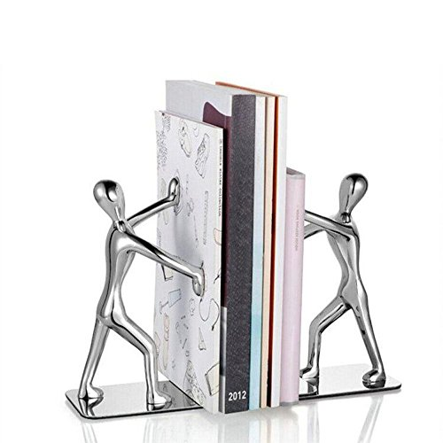 Paire de serre-livres en acier inoxydable, en forme d'hommes pratiquant le kung-fu, décoratifs, tendance et créatifs, pour ranger et organiser vos livres à la maison, au bureau, dans une bibliothèque, idée cadeau Silver