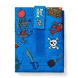 Roll'eat - Boc'n'Roll Kids | Bolsa Merienda Infantil Porta Bocadillos, Envoltorio Reutilizable y Ecológico sin BPA, Piratas Azul
