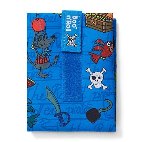 Roll'eat - Boc'n'Roll Kids   Bolsa Merienda Infantil Porta Bocadillos, Envoltorio Reutilizable y Ecológico sin BPA, Piratas Azul