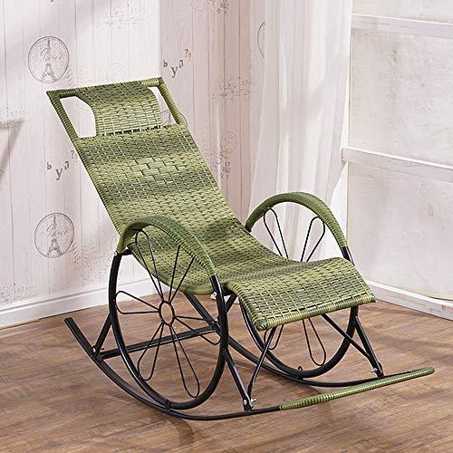 IHCIAIX silla,Mecedora Sofá Hogar Sala de estar Relajación Sillón perezoso Ocio Hogar Ocio Balcón Ratán Tejido Silla para ancianos plegable, M