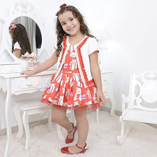 Vestido infantil vermelho com bolero