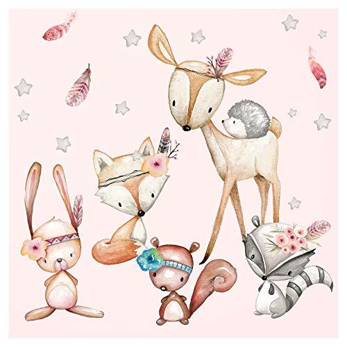 Little Deco Wandtattoo Waldtiere mit Sternen & Federn I M - 91 x 59 cm (BxH) I REH Wandaufkleber Sticker Mädchen Wandsticker Kinderzimmer Deko Aufkleber DL488