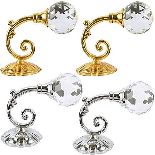 Fiyuer 4 Pezzi Ganci Fermatende Moderni Decorativi Raccogli Tende Fermatenda Adesivi Ventosa Metal Holdback Cristallo per Tenda o Vestiti Silver d'oro