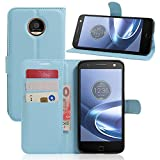 Ycloud Tasche für Lenovo Moto Z Play (5.5 Zoll) Hülle, PU Ledertasche Flip Cover Wallet Hülle Handyhülle mit Stand Function Credit Card Slots Bookstyle Purse Design blau