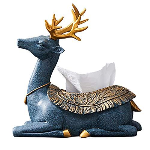 Elk Tissue Box, hars eenvoudige Elk Tissue Box, luxe woonkamer eetkamer creatieve Tissue Box, woondecoratie woonkamer salontafel decoratie Blauw