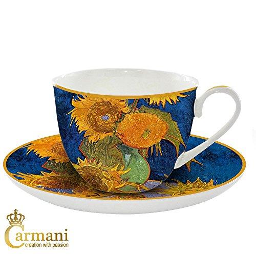 CARMANI - Coupe et soucoupe en porcelaine avec 'tournesols' Van Gogh par 250 ml