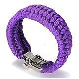 crintiff - Bracelet en Paracorde tressé Taille Ajustable avec Fermoir en Acier Inoxydable - pour Poignets de 18-20 cm - pour Homme ou Femme - Garantie a Vie (Mauve)