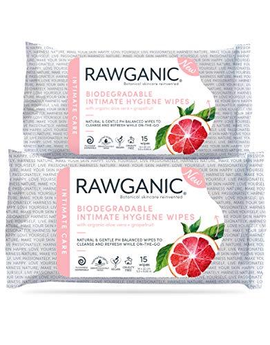 RAWGANIC Bio Intim-Hygienetücher   COSMOS zertifiziert   Hypoallergen, Alkoholfrei, Spülbar Und Biologisch Abbaubar   100% Zellulose (15 Tücher pro Packung)