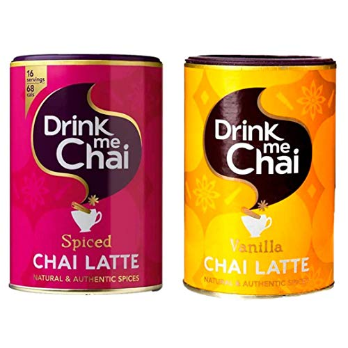 Drink me Chai   Te Chai Latte Spiced + Chai Latte Vainilla   Te pakistani instantáneo   Pack de 2 x 250 g   Total 500 g