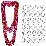 Collares de Perlas de Despedida de Soltera de 12 Piezas (59 Pulgadas) con 50 Piezas Anillos de Despedida de Soltera Anillos de Compromiso de Diamantes de Plata para Decoraciones de Mesa de Boda