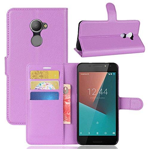 Tasche für Vodafone Smart N8 Hülle , Ycloud PU Kunstleder Ledertasche Flip Cover Wallet Case Handyhülle mit Stand Function Credit Card Slots Bookstyle Purse Design lila