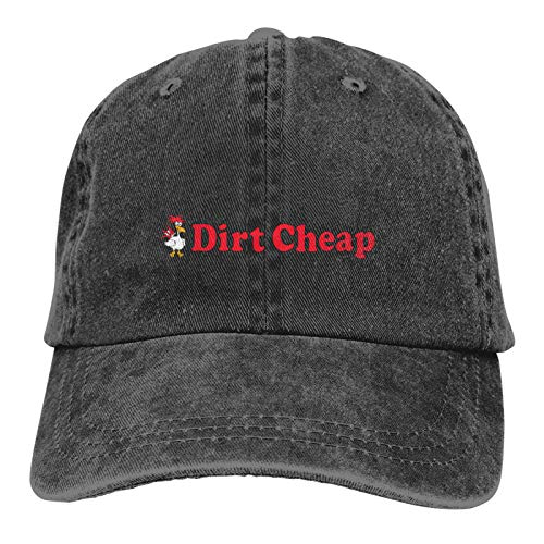 Dirt Cheap Sports - Gorra de vaquero ajustable, diseño de casquetas, unisex, color negro