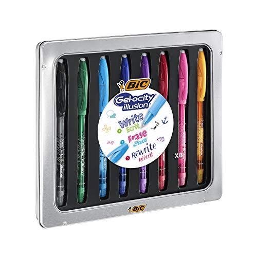 BIC Gel-ocity Illusion Bolígrafos Borrables de punta media (0,7 mm) - Colores Surtidos, Caja con 8 Unidades