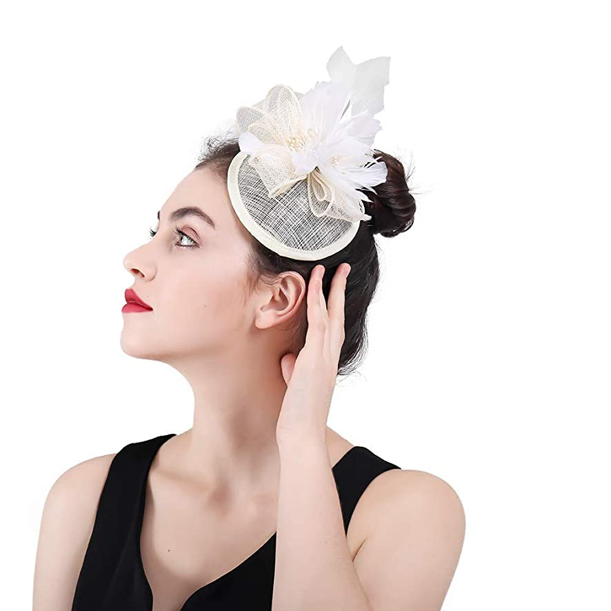 ほめるエンドウゼリー女性の魅力的な帽子 女性の結婚式の髪の魅惑的な羽の花のヘアピンヘッドドレスロイヤルアスコットカクテルティーパーティー (色 : 赤)