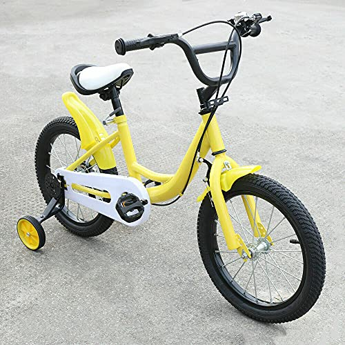 Bicicleta infantil + bicicleta auxiliar, 16 pulgadas, color amarillo