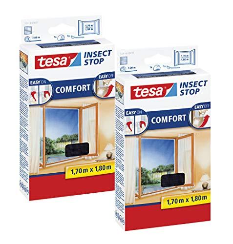 tesa Insect Stop COMFORT Fliegengitter Fenster - Insektenschutz mit Klettband selbstklebend - Fliegen Netz ohne Bohren (170 cm x 180 cm, 2er Pack/Anthrazit (Durchsichtig))