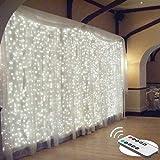 Luz de cortina impermeable de 300 LED, 3 mx 3 m, luces de cadena de Navidad de color blanco cálido con 8 modos de control remoto, bodas, decoración de fiestas, dormitorio (Blanco brillante)