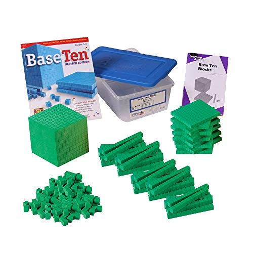 hand2mind Green Foam Base Ten Blocks for Kids Ages 8-11, Base 10 Units, Rods, Flats, Cube, and Activity Book, Learn Place Value, Number Concepts & Counting, Homeschool Math Manipulatives (Set of 161)