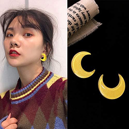 Chwewxi Sailor Moon Yellow Moon Stars Pendientes de acrílico Pendientes de botón Simple de Temperamento de Corea, Luna Amarilla (Aguja común)