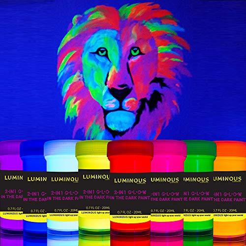 Individuall - Pintura fluorescente luminosa 2 en 1 que brilla en la oscuridad y UV negro - Juego de 8 pinturas de neón autoluminosas y fluorescentes - Pintura fosforescente - Pintura de neón brillante