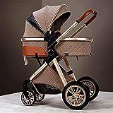 Cochecito de bebé compacto de aluminio, cochecito de cochecito de alta vista, carro plegable para bebés con arnés de 5 puntos y canasta de alta capacidad, con bolsa de mamá y cubierta a prueba de inte
